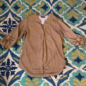 Tan and black silky button up shirt